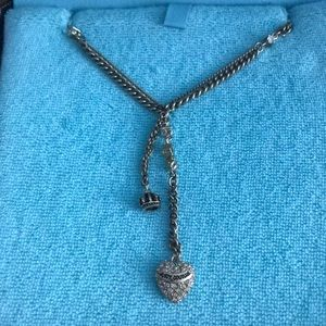 NWT juicy Couture necklace, heart drop rhinestone